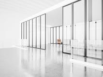 Pusty pokój konferencyjny z panoramicznymi okno 3d Fotografia Royalty Free