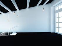 Pusty pokój, loft, schodki i duży okno, 3d Obrazy Royalty Free