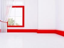 Pusty pokój w czerwonych i bielu kolorach ilustracji