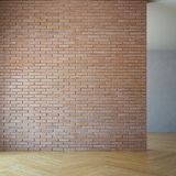 Pusty pokój z ścianą z cegieł, 3d odpłaca się fotografia stock