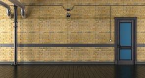 Pusty pokój z ściana z cegieł i zamkniętym drzwi royalty ilustracja