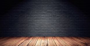 Pusty pokój z czarnym ściana z cegieł i drewnianą podłoga royalty ilustracja