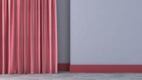 Pusty pokój z czerwonymi zasłonami Fotografia Royalty Free