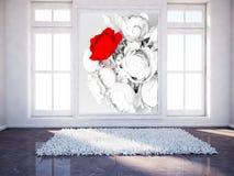 Pusty pokój z drewnianą podłoga i obrazkiem ilustracji