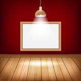 Pusty pokój z drewnianą podłoga, ramą i światłami, ilustracja wektor