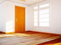 Pusty pokój z drewnianym dorr i okno ilustracja wektor