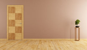 Pusty pokój z drewnianym drzwi Zdjęcie Stock