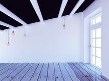 Pusty pokój z dużym okno, 3d obrazy stock