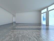 Pusty pokój z nadokiennym cieniem, 3D Obraz Royalty Free