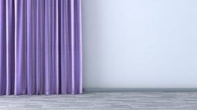 Pusty pokój z purpurowymi zasłonami Zdjęcie Royalty Free