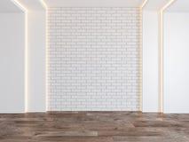 Pusty pokój z pustą ścianą z cegieł, chujący światło, parkietowa drewniana podłoga ilustracja wektor