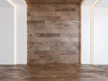 Pusty pokój z pustą drewno ścianą, chujący światło, parkietowa drewniana podłoga ilustracji
