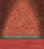 Pusty pokój Z Zatartą rewolucjonistka adamaszka tapetą Zdjęcie Stock