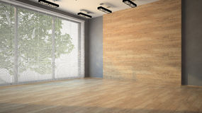Pusty pokój z drewnianą ścianą Zdjęcia Royalty Free