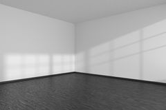 Pusty pokoju kąt z czarnymi parkietowej podłoga i bielu ścianami Zdjęcia Royalty Free