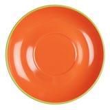 Pusty pomarańcze talerz Obrazy Royalty Free