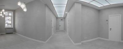 Pusty przestrzeni, biura lub mieszkania wnętrze, dwa pokoju łączy korytarzem z drzwiami, wnętrze w lekkich kolorach Obrazy Stock