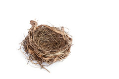 Pusty ptaka gniazdeczko odizolowywający na bielu fotografia royalty free