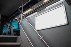 Pusty reklama panel w pociągu obraz stock