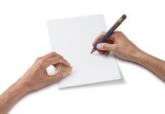 pusty rysunku ręki papieru prześcieradło Fotografia Royalty Free