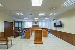 Pusty sala sądowej wnętrze Zdjęcia Stock