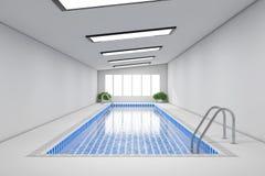 Pusty Salowy Pływackiego basenu wnętrze świadczenia 3 d royalty ilustracja