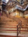 Pusty schody ghats w wczesnym poranku Obrazy Royalty Free