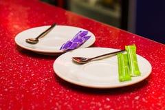 Pusty spodeczek z łyżką dla herbaty Zdjęcia Stock