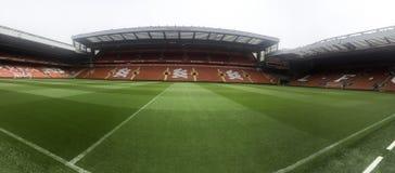 pusty stadion futbolowy z zieloną trawą zdjęcia stock