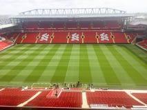 pusty stadion futbolowy z zieloną trawą obraz stock