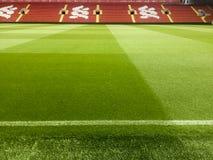 pusty stadion futbolowy z zieloną trawą obrazy stock