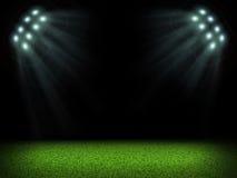 Pusty stadium z jaskrawymi światłami Zdjęcia Stock