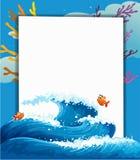 Pusty szablon przy morzem z ryba ilustracja wektor