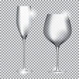 Pusty szkło szampan i wino na Przejrzystym tle Vect Zdjęcie Stock