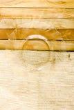 Pusty szklany talerz z drewna i maty tła teksturą Zdjęcia Stock