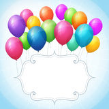 Pusty urodzinowy błękitny tło z kolorowymi balonami Fotografia Royalty Free