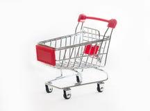 Pusty wózek na zakupy, odizolowywający na białym tle Zdjęcia Stock