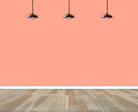 pusty wewnętrzny pokój ścienna i drewniana podłoga z lampą w pokoju ilustracja wektor