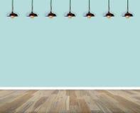 pusty wewnętrzny pokój ścienna i drewniana podłoga z lampą w pokoju ilustracji