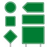 Pusty wielokrotność rozmiar zielony transportu znak ustawia z słupem Obraz Stock