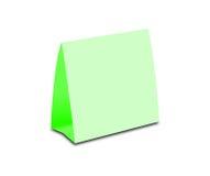 Pusty Zielonego stołu namiot na bielu Papierowe vertical karty odizolowywać Fotografia Stock