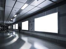 Pustych billboardów sztandarów Lekkiego pudełka Medialna stacja metru Zdjęcie Stock