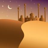 Pustynia i meczetowy Arabski tło Fotografia Royalty Free
