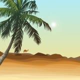 Pustynia i palma Zdjęcia Stock