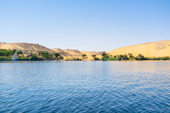 Pustynia i rzeka Obrazy Royalty Free