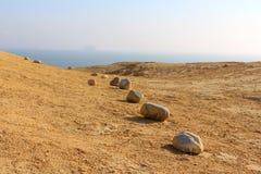 Pustynia kamienie przy Paracas Krajową rezerwą Zdjęcia Royalty Free