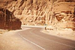 Pustynna autostrada I góry Obraz Royalty Free