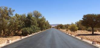 Pustynna autostrada w gorącym słońcu Obrazy Stock