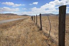Pustynna droga przez traw równiien Obrazy Royalty Free