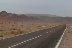 Pustynna droga w Synaj pustyni w Egipt wielbłądy Zdjęcia Stock
